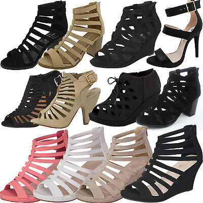 NEW CAGED Open toe Gladiator High Heel Sandal Strappy Ankle Block Wedge Platform ()