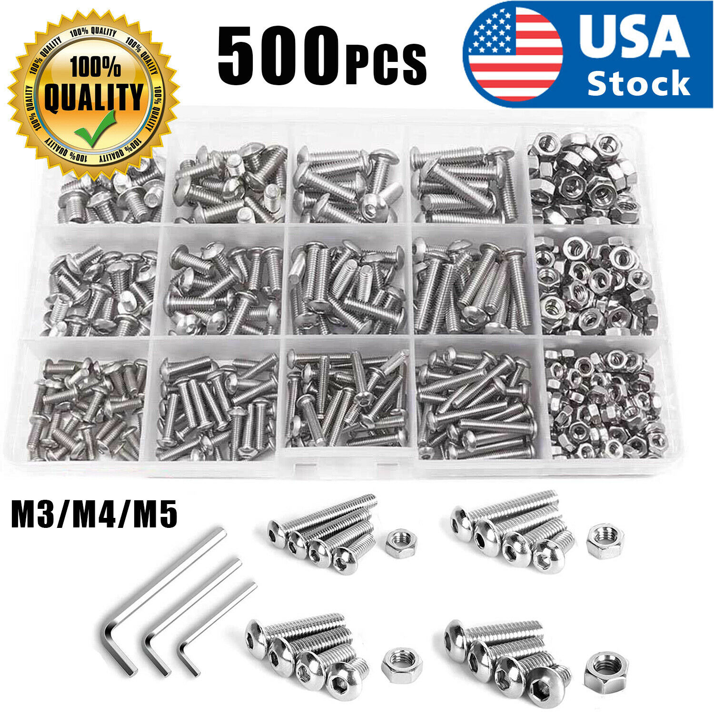 US 500pcs Stainless Steel Hex Socket Cap Head Bolts Screws Nuts M3 M4 M5 304 Kit Business & Industrial