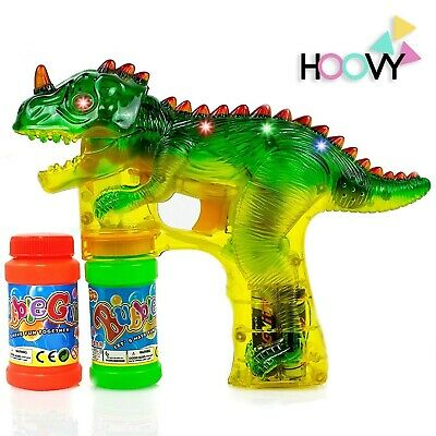 Flashing Bubble Gun (Hoovy Dinosaur Bubble Gun Blower Shooter Light Up LED Flashing Lights Plays)