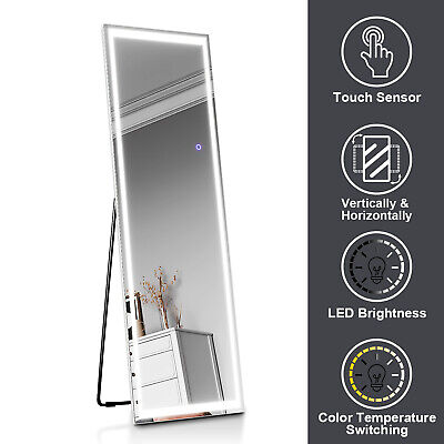 Free Standing Full Length Long Mirror with LED Light Bedroom Furniture 50x160cm