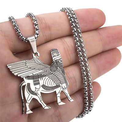 Assyrian lamassu Å edu Human-headed winged bull Stainless Steel Pendant Necklace
