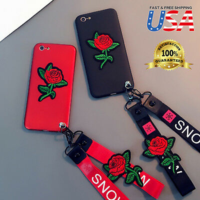 Embroidery Case (Luxury Embroidery Rose🌹 Flower Neck Strap Soft case Cover Fits iPhone)