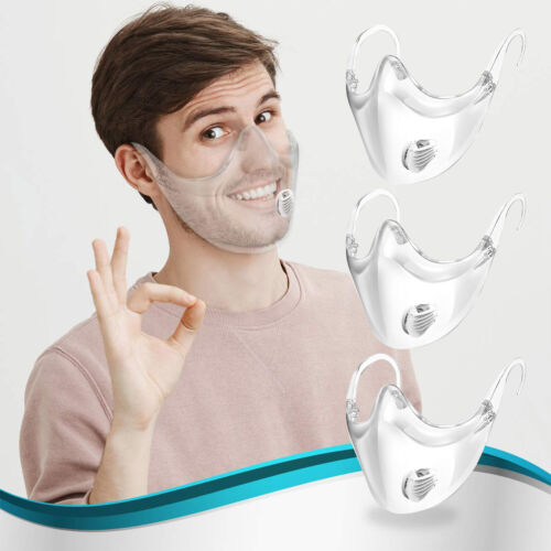 1/2/3 pcs Clear Transparent Face Mask Shield Mouth Expression Breathing Valve US