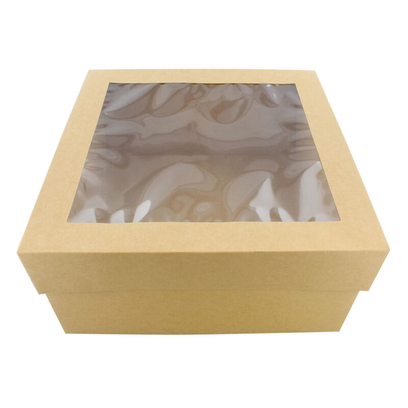 "SpecialT | Cake Boxes with Window 25-Pack 12"" x 12"" x 6"" Inch Brown Bakery Boxes"