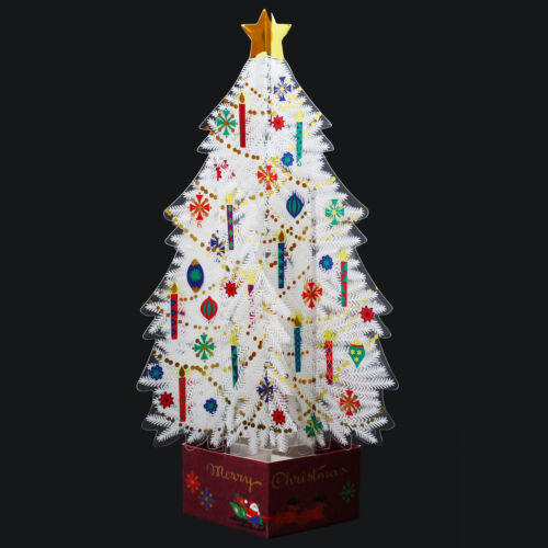 White Crystal 3D Christmas Tree Pop Up Greeting Card
