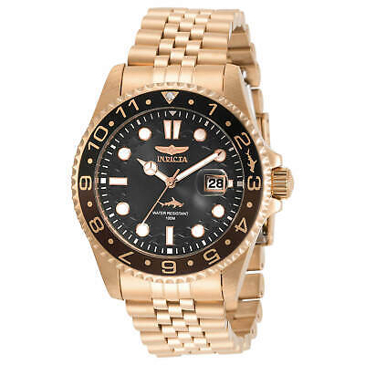 Invicta Men's Watch Pro Diver Black Dial Rose Gold Plated Bracelet 30624