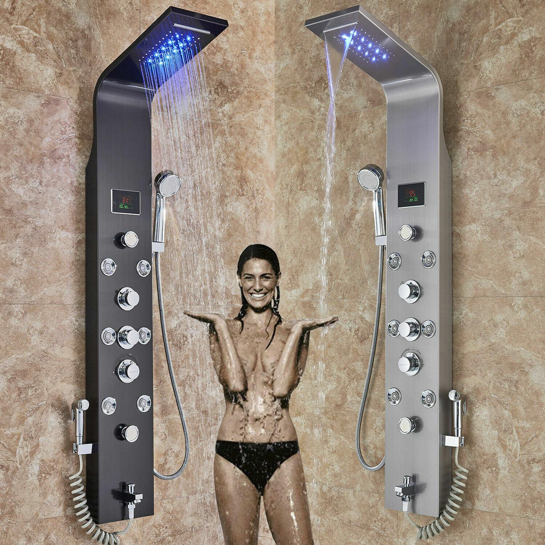 Turm Körper Massage Jets Handbrause Badewanne Auslauf Neu Edelstahl Duschpaneel