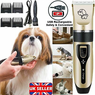 Pet Dog Cat Grooming Clipper Thick Fur Hair Trimmer Electric Shaver Set Kit uk