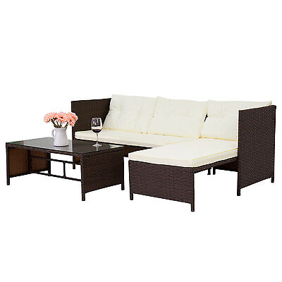 3PC Wicker Open-air Patio Sofa and Coffee Table Set Yard Garden Lawn Furniture