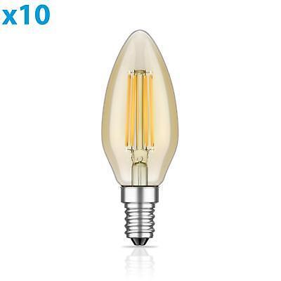 Warm Amber Glas (E14 LED Kerzenlampe Glühfaden Vintage amber 4W =35W 380lm extra-warm-weiß auch w)