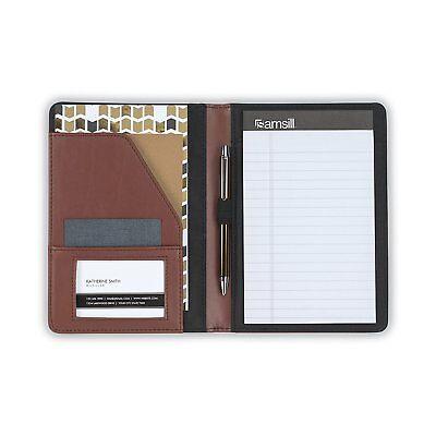 New Samsil Business Wallet Portfolio Contrast Stitch Leather 5x8 Writing Pad