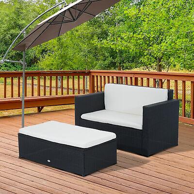 2pc Wicker Loveseat Ottoman Set Rattan Sofa Table Set Outdoor Patio Furniture
