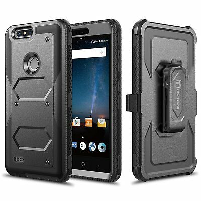 ZTE Blade Z Max Case, Impact Armor Hybrid Belt Clip Case with Built-in Screen