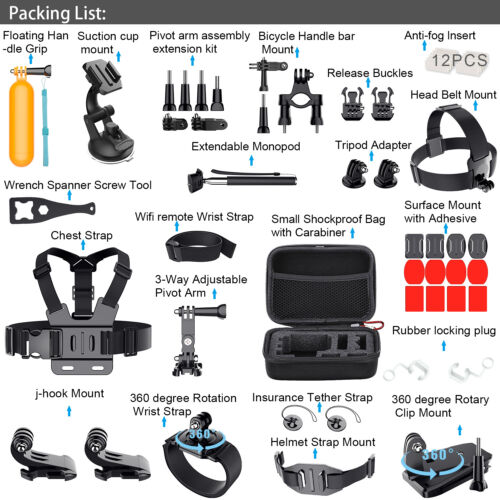 For GoPro Hero 5 4 3 2 1 Session Accessories Camera Sport Outdoor Set Kit