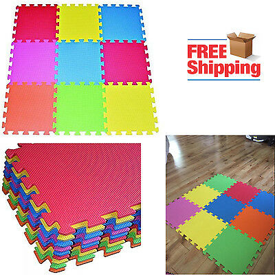 Multi Color Tiles Interlocking Puzzle Floor Mat Foam Kids Ba