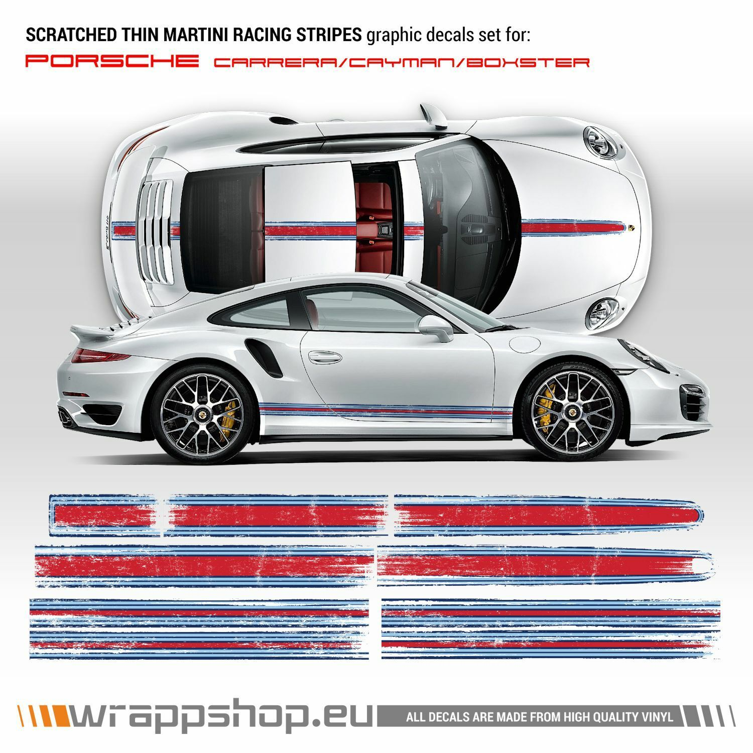 Scratched Thin Martini Racing Stripes Kit For Porsche Carrera Cayman Boxster Ebay