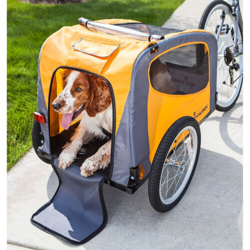 Orange 1 Pet Bicycle Trailer 16in Tire Weather Screen Cover Folding Dog Carrier