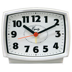 33100 Equity by La Crosse Electric Silent Sweep Analog Alarm Clock - White