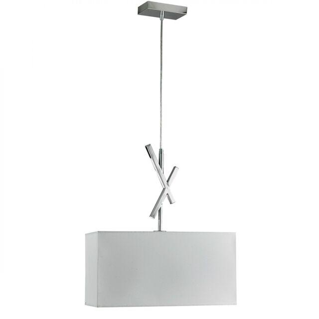 Searchlight - 4901CC Acute Modern Single Pendant Light White Shade / Chrome