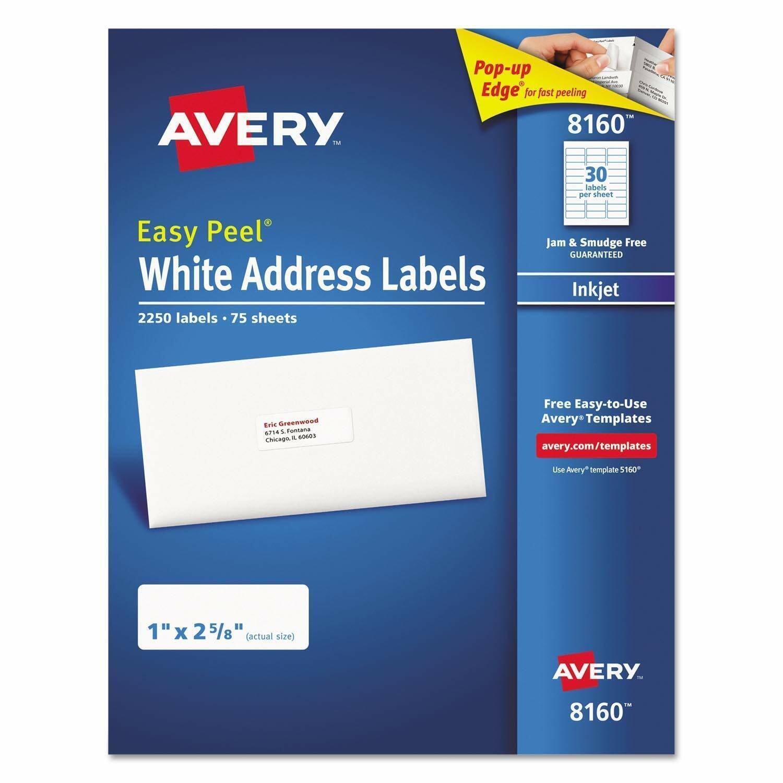 Avery 8160 White Address Labels Inkjet Easy Peel Pop-up Edge
