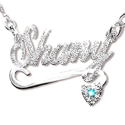 Sterling Silver Name Necklace - Personalized Sterling Silver Name Necklace- Any Name & Necklace with BirthStone