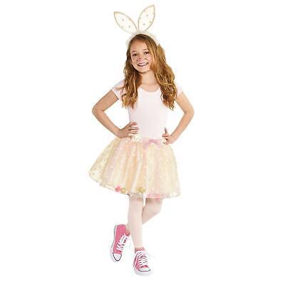 Kids Girls White Bunny Rabbit Tutu Bob Tail Ears Animal Fanc