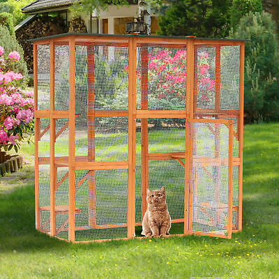 Wood Cat House Catio Enclosure Pet Play Area Feline Home Outdoor w/Platforms