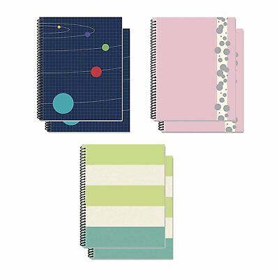 B-there Bundle Of Spiral Bound Fat Notebooks - 6 Notebooks Total 3 Different...