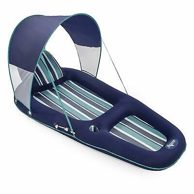 Aqua Oversized Deluxe Inflatable Pool Lounger Float with Sunshade Canopy, Blue