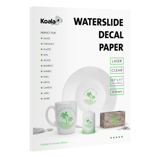 Koala 25 Sheets Premium LASER CLEAR Waterslide Decal Transfer Paper 8.5x11
