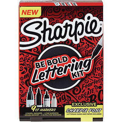 Sharpie Lettering Kit Be Bold Permanent Markers Assorted Sizes Black 9-pack
