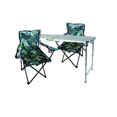 3-tlg. Camouflage Campingmöbel Set, Tisch mit Tragegriff und Stühle mit Tasche  (Möbelstoff Camouflage)
