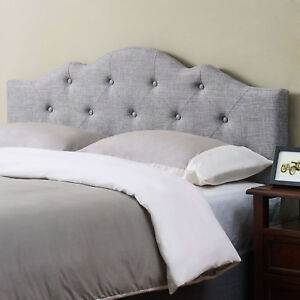 Tufted Headboard King Size Upholstered Bedroom Furniture Modern Gray Fabric New