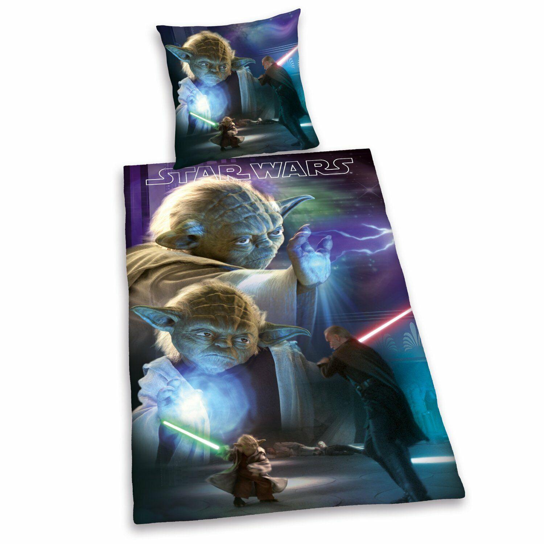 Star Wars Bettwäsche glatt Jedi Yoda Luke Schwert Lucasfilm 135 x 200 cm NEU WOW