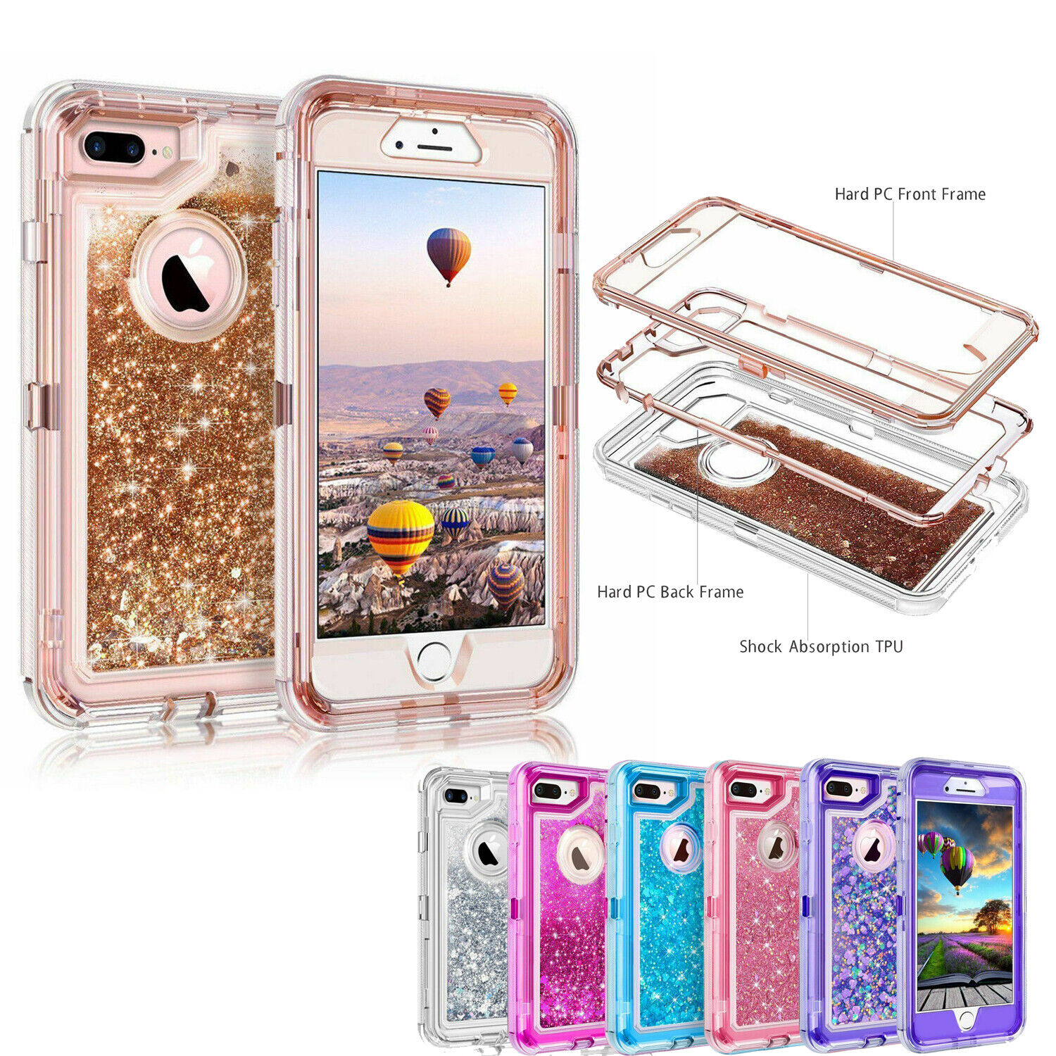 360° Liquid Glitter Bling Heavy Duty Case For iPhone Xs XR