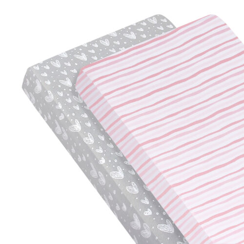 """Stretchy Fitted Standard Crib Sheet 100% Jersey Knit Cotton 2 Pack 52""""x28"""""""