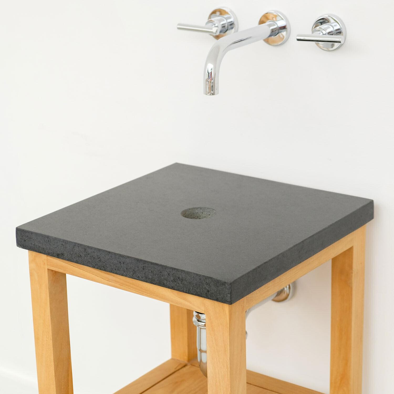 wohnfreuden Marmor Waschtisch-Platte SMINI 40x40x3 cm eckig anthrazit Platte