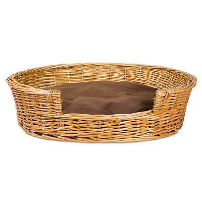Pets Oval Woven Wicker Pet Bed Basket Dog/Puppy Sofa Washable Cushion