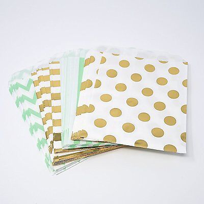 48 Polka Dot Chevron Stripe Mint and Gold Food Candy Treat Party Favor Bags 5x7 - Polka Dot Party Bags