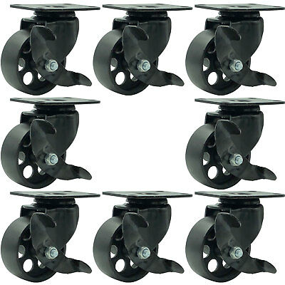 8 All Black Metal Swivel Plate Caster Wheels W Brake Heavy Duty 3 W Brake