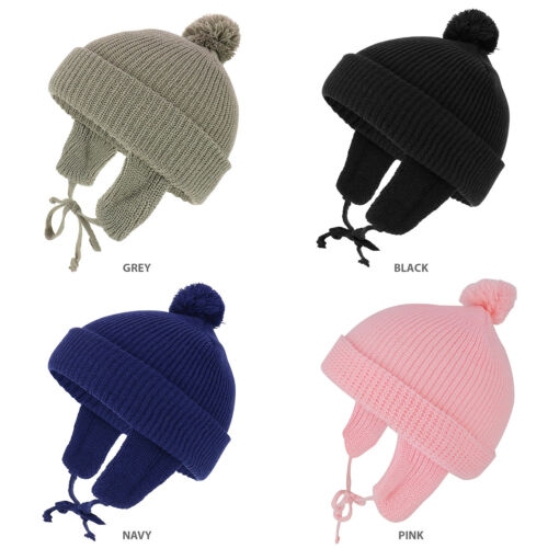 Infant to Toddler Winter Cuff Folded Beanie with Pom and Earflaps - FREESHIP