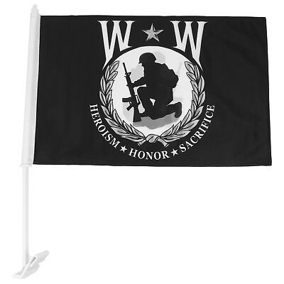 Wounded Warrior Military Car Flag with Plastic Hole - FREE SHIPPING
