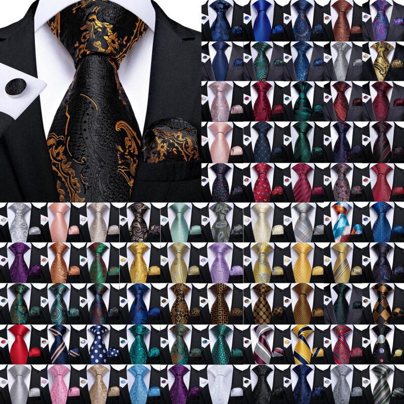 Dibangu Mens 99 Pattern Blue Red Yellow Silk Tie Necktie Hanky Cufflinks Set