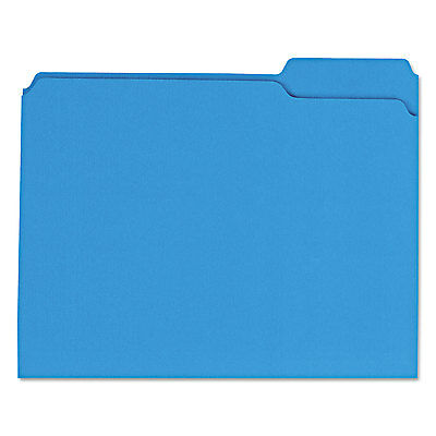 Universal One Colored File Folders 1/3 Cut Assorted Two-Ply Top Tab Letter Blue