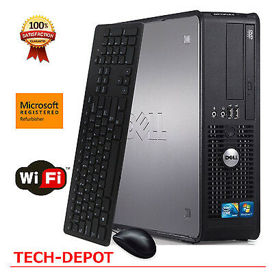 Fast Dell Slim Tower Computer PC Intel Core 2 Duo 4GB RAM 250GB HD Windows 10