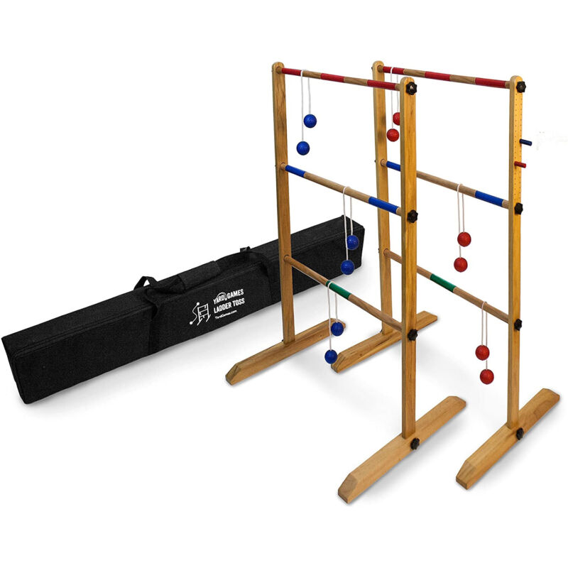 Yard Games Wooden Double Ladder Toss Game Set w/ Case, Red/Blue (Open Box)
