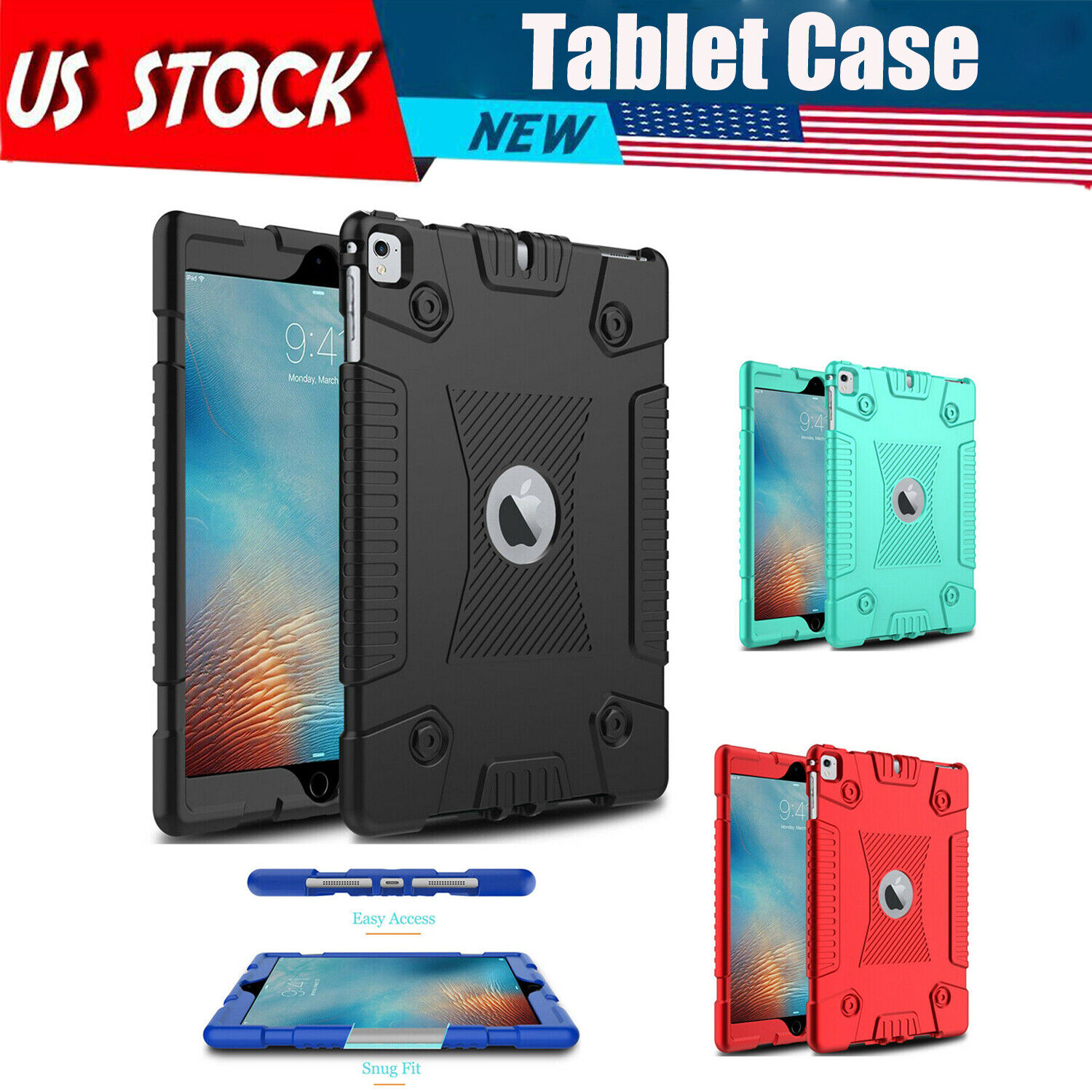For  Air 2 / iPad 6/Air /iPad 5/Pro 9.7in/6th Gen Silicone Case Shockproof Cover Cases, Covers, Keyboard Folios
