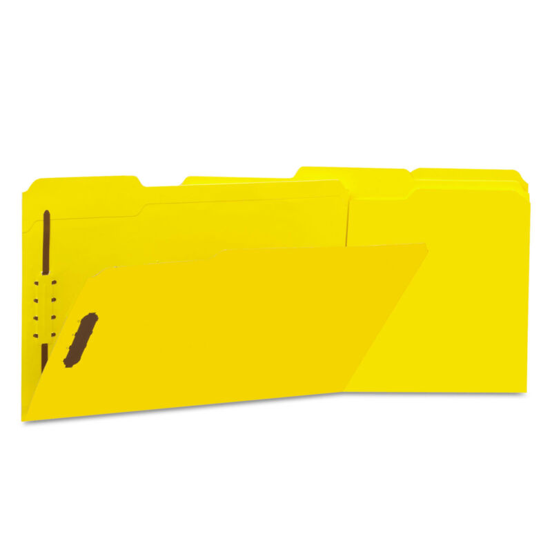 UNIVERSAL Deluxe Reinforced Top Tab Folders 2 Fasteners 1/3 Tab Legal Yellow 50