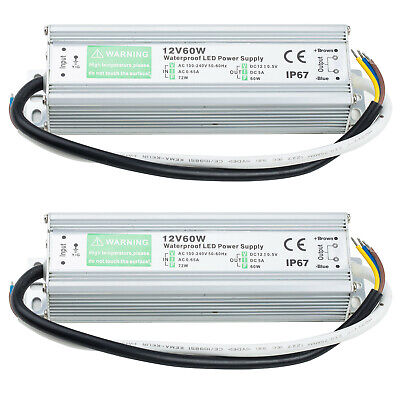 2pcs 60 Watt Waterproof Led Power Supply Driver Transformer To 12 Volt 5a Dc 60w