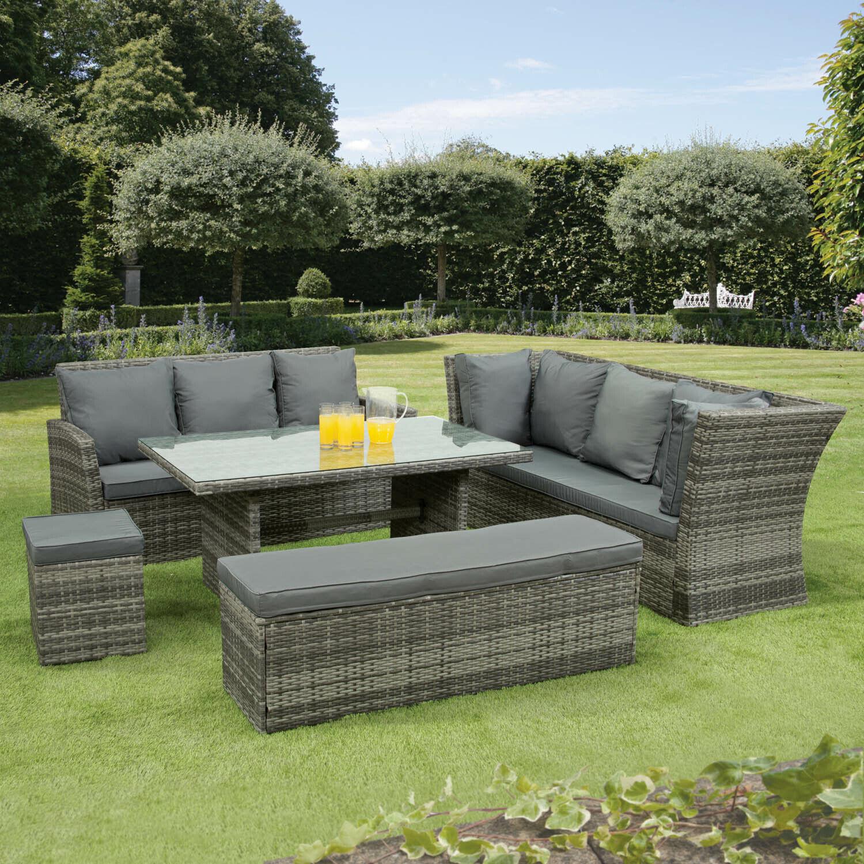 Garden Furniture - Nevada 10 Seat Rattan Wicker Luxury Corner Sofa Set Chair Garden Patio Furniture